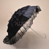 Victorian Umbrella, Vintage Wedding Umbrella, Lace Wedding Parasol Lace Bridal Umbrella, Black Lace Bridal Parasol Photo Prop Decor LSS12F-1