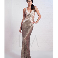 Antique Gold Sequin Contrast V-Neck Gown