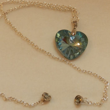 Large Blue Crystal heart Pendant on silver chain. Perfect for Mom/Birthday/Anniversary/Special Occasion   JJH 9092352