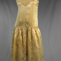 Vintage 1920s Prelude to THE Kiss Champagne Colored Flapper Wedding Dress Tulle Layer , Beaded Lace Flapper Dress