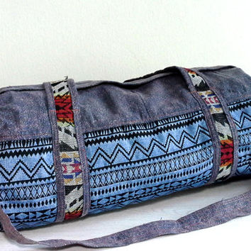 Handmade Small Duffle Bag for Men Women, Southwestern Weekender bag, Hippie travel overnight bag, Cotton Sport Gym bag, Gift ideas