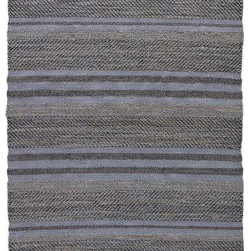 Naturals Stripes Pattern Blue/Gray Jute and Cotton Area Rug ( 2.6x4)
