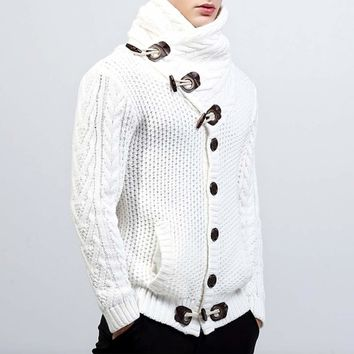 Mens Shawl Collar Horn Button Cardigan in White