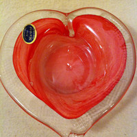 NEW Arte Murano Glass - Mini Heart Blown Glass Accent Dish