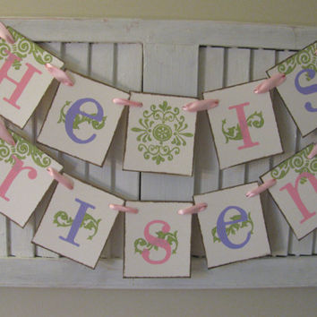 He is Risen Banner Easter Garland Bunting in Pastel Colors Beautiful Photo Prop Pink Purple and Green