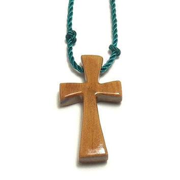 Men's Cross Necklace - Minimalist Cross Necklace - Australian Cypress - Reclaimed Wood