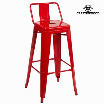 Red metal bar stool by Craften Wood