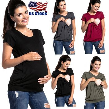 Pregnant Women Loose Maternity Clothes Nursing Tops Mom Breastfeeding T Shirt US