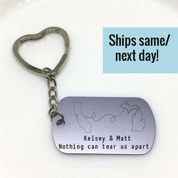 Deployment Keychain, Long Distance, State or Country, Custom Engraved Keychain, Deployment, Gift for Him, Gift for Her, Going Away Gift