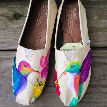 Whimsical Hummingbird Custom Toms Shoes