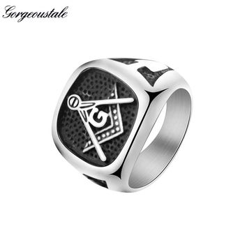 Vintage Steampunk Masonic Symbols Rings For Men Jewelry Stainless Steel Masonic-ring Signet Titanium Color The New Listing 2017