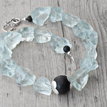 Raw Quartz and Lava Rock Necklace, Aqua Blue and Black Statement Necklace, Big Chunky Necklace, Santorini Wedding Jewelry, Raw Gemstone