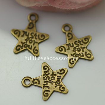 50pcs Cute Antique Brass Star Charms Pendants 12mm Just for You Star Charms Connector