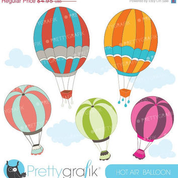 60% OFF SALE hot air balloon clipart commercial use, vector graphics, digital - CL543