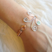 Custom Adjustable Copper and Silver Tone Bracelet - Handmade, Aluminum Wire, Cuff Bracelet, Free Form, Aquamarine Glass Bead
