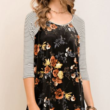 Pattern Mix Floral and Stripe Raglan Knit and Velvet Top