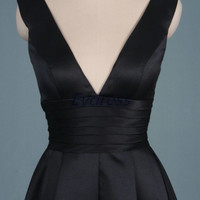 Short black satin prom dresses under 100,sexy women gowns for holiday party,simple homecoming gowns discount.