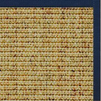 Spice Sisal Rug with Navy Blue Cotton Border