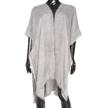 Grey Sequin detail frayed edge shawl cover up kimono cardigan - High Quality