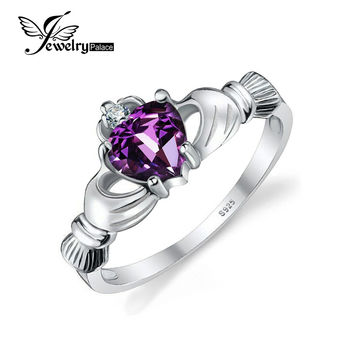 JewelryPalace Heart 0.5ct Irish Claddagh Natural Amethyst Birthstone Promise Ring 925 Sterling Silver Jewelry 2016 New For Women