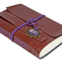 Large Light Brown Faux Leather Journal with Purple Cameo - Ready To Ship -