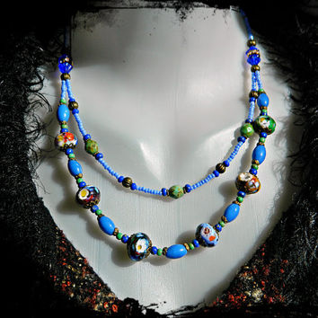 Bohemian lampwork necklace, Bohemian jewelry, Boho chic, Blue green necklace, Hippie, Gypsy, Layered necklace, Multistrand necklace, OOAK