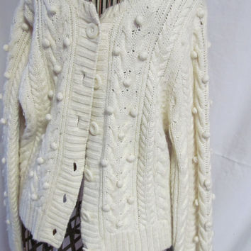 Popcorn Cardigan Sweater Big Button Sweater Vintage Petite Large