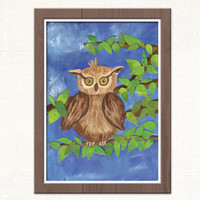 An Owl in the Woods - ORIGINAL Painting with Acrylics - Wall Art - children room decor - Nursery Room - Home Decor