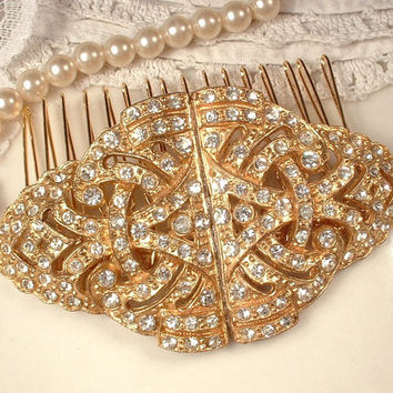 1920s Gold Pave Clear Rhinestone Bridal Hair Comb,Vintage Art Deco Crystal Fur Clips to OOAK Large Great Gatsby Headpiece Downton Abbey