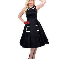 1950s Style Black & White Sleeveless Swing Dress