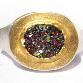 Rainbow Druzy Quartz Ring - 24k Solid Gold and Silver Ring - Gemstone Ring.