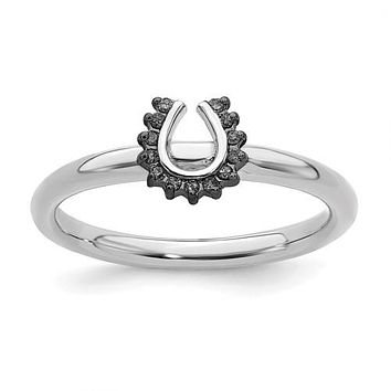 925 Sterling Silver Lucky Horseshoe Black diamond Ring