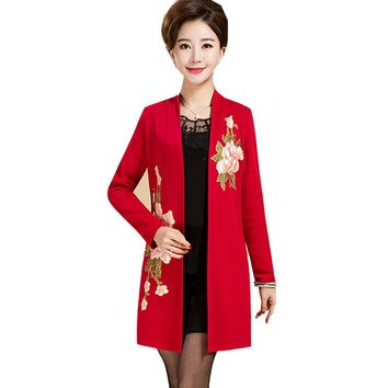 Big Plus Size 4XL 5XL Autumn Mother Women Embroidery floral Long Kimono Knitted Outerwear Cardigan Women fashion Cardigans 62