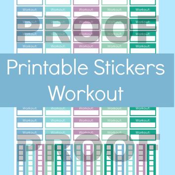 Erin Condren Fitness Stickers, Workout Stickers, Printable Planner Stickers, Stickers Erin Condren, Stickers for Erin Condren Planner