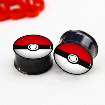 Pairs   2pcs Pokeball    plugs ,0g,00g ,2g  plugs gauges,   handmade ear plugs,Black  Titanium ear plugs, screw on ear plugs