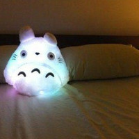 PRE - ORDER Cute Kawaii Totoro Anime LED colorful plush pillow