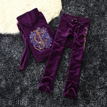 Juicy Couture Fw2017 Velour Tracksuit 2pcs Studded Paddy Juicy Logo Women Suits Navy Blue - Best Deal Online