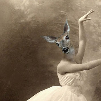 Grace - Vintage Deer 5x7 Print - Ballerina - Altered Photo - Anthropomorphic - Photo Collage - Sepia - Gift Idea - Whimsical - Animal Print