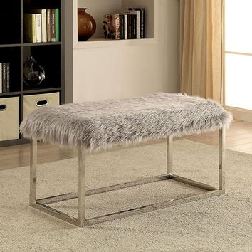 Ria collection silver frame and grey faux fur seat large bedroom bench