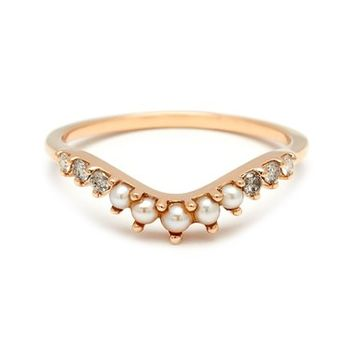 Anna Sheffield 'Tiara Curve' Diamond & Seed Pearl Ring | Nordstrom