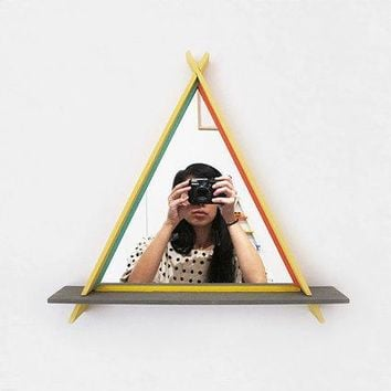 Triangle Shelf With Mirror In Canary And Grey