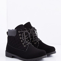 Black Quilted Hiking Boot