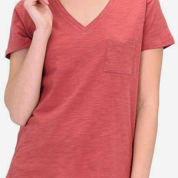 Alexa Curve Cotton Slub Tee in Brick