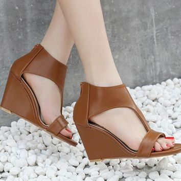 Hollow Women Fashion Peep Toe Wedge High Heels Shoes