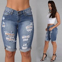 women blue New MID Waist Skinny Denim Jeans Slim Fashion Middle Pencil Pants