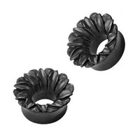Organic Hand Carved Areng Wood Lotus Tunnel Plugs - 00G (10 mm) - Sold as a Pair