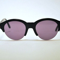 Vintage 80s/90s LADY GAGA Style Super Cool Retro Round Black Sunglasses With Gold Accents