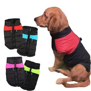 CREYLD1 8 Size S-5XL Winter Dog Clothes For Pet Waterproof Warm Large Dog Vest Cat Puppy Dog Ski Coats Jackets Green/Red/Blue/Pink