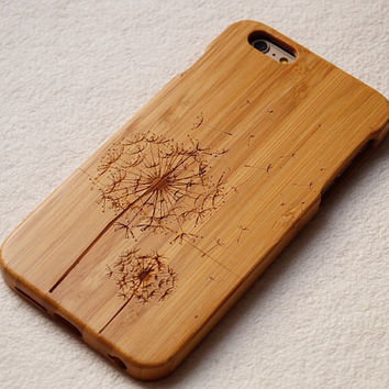 dandelions case Carving wood case Wood iPhone 6 case, waves of the sea iphone 6plus wood case, iphone 5 case, iphone 5c case,iphone 4 case Samsung Galaxy S3,S4,S5,S6 Samsung Galaxy Note2 , 3 ,4 case