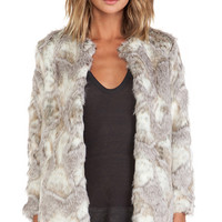 BSABLE Stella Faux Fur Jacket in Beige